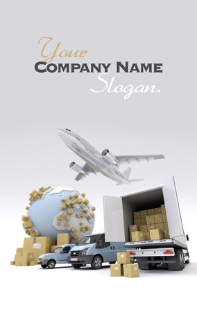 3D rendering of the Earth, cardboard boxes, a van, a truck and a flying plane Stock Photo