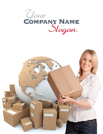 A woman holding a box with the world surrounded by packages in the background  photo