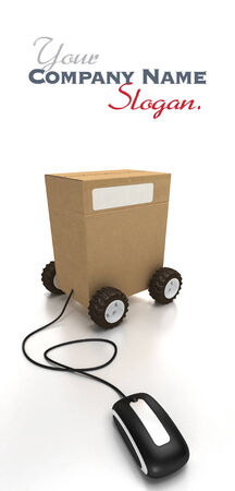 Package on wheels connected to a mouse photo