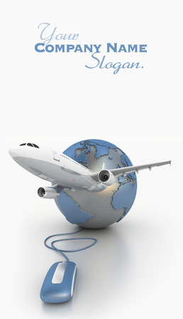 3D rendering of a world map connected to a computer mouse and a plane taking off  版權商用圖片