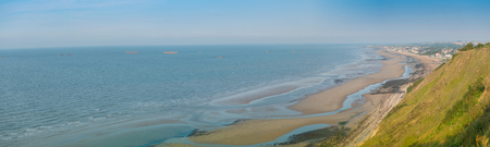 battleground: Panoramic view of a Normandy beach from the cliffs
