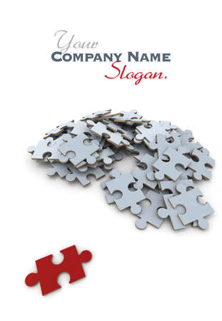 apart: Red puzzle piece, lying apart from the rest of the gray pieces Stock Photo