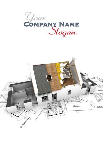 Huis met blootgesteld dak lagen op de top van architect blauwdrukken. Stockfoto