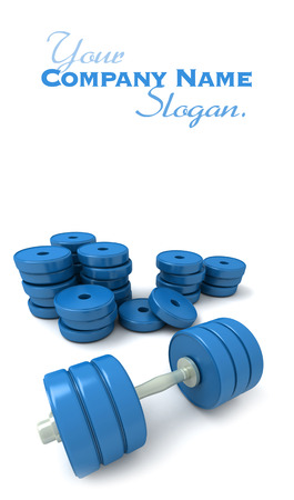 3D-rendering of blue dumbbells and a pile of weights lying on a white d�cor Stock Photo - 27339938