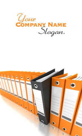 filing system: 3D rendering of a line of office ring binders with one sticking out Stock Photo