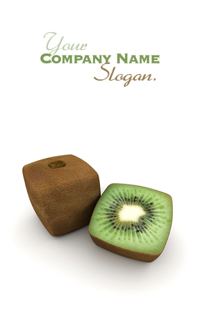 manipulated   alter: 3D rendering of a cubic kiwi and a half Stock Photo