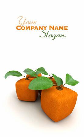 estrange: 3D rendering of two cubic oranges Stock Photo