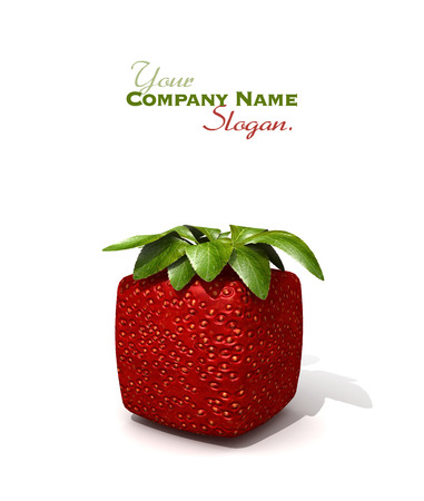 manipulated : alter: 3D rendering of a cubic strawberry against a white background Stock Photo