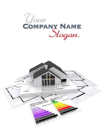 Representación 3D de una casa, en la parte superior de planos con y gráfico de calificación de eficiencia energética Foto de archivo - 27339981