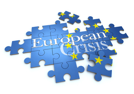 eurozone: 3D rendering of a puzzle with the words European Crisis Stock Photo