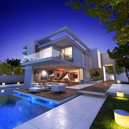 wealthy: External view of a contemporary house with pool at dusk