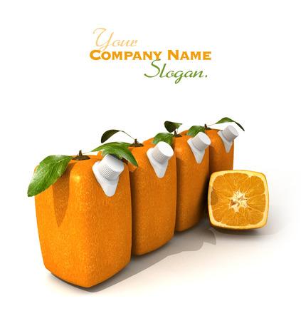 singular: 3D rendering of four Cubic oranges with a juice dispenser