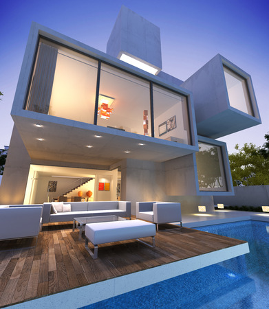 indoors: External view of a contemporary house with pool at dusk