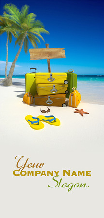 Yellow luggage, a blank wooden sign and thongs on a tropical beach  Stock Photo