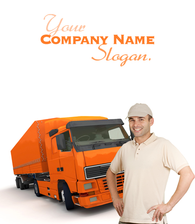 removal van:  Isolated image of a man in front of an orange trailer truck