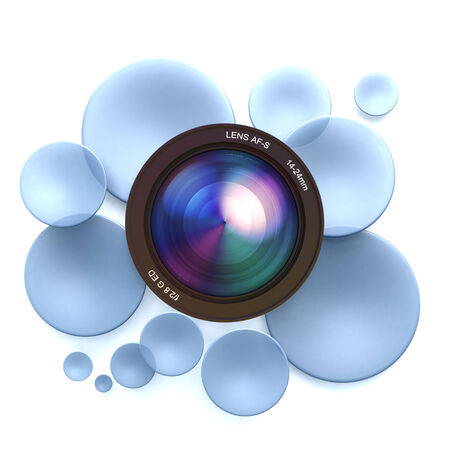 Blue disks and a camera lens Stock Photo - 27340016