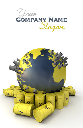 3D rendering of the Earth with nuclear power stations surrounded by barrels of nuclear waste Stock Photo - 27340021