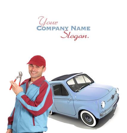 slogan: Mecánico de coche con unas pinzas y un coche europeo de la vendimia