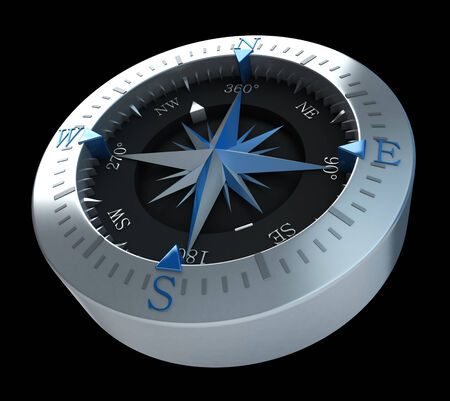 navigate: 3D rendering of a compass in a black background