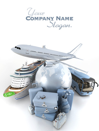 3D rendering of a world globe, an airplane, a cruise ship and a coach bus with a high key pile of luggage Standard-Bild