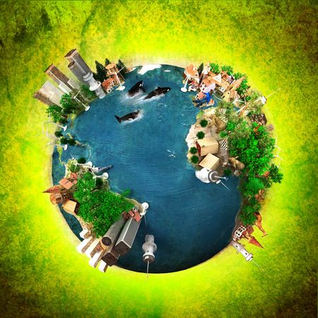 3D rendering of ecology oriented version of the planet Earth photo