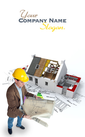 Architect , blueprints a house under construction and an energy efficiency chart photo