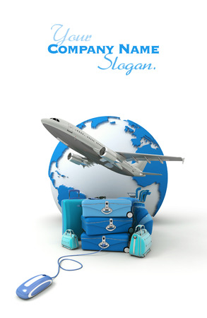 golf bag:  The Earth, a plane taking off, a pile of luggage including suitcases, briefcases, golf bag, connected to a computer mouse in blue shades