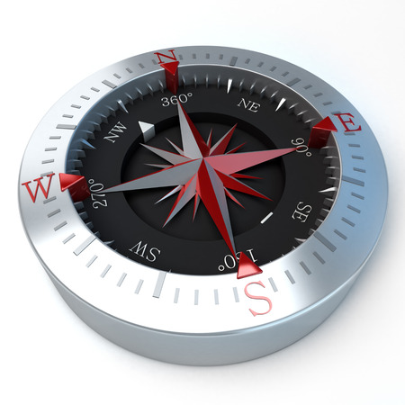 orienteering: 3D rendering of a compass in a white