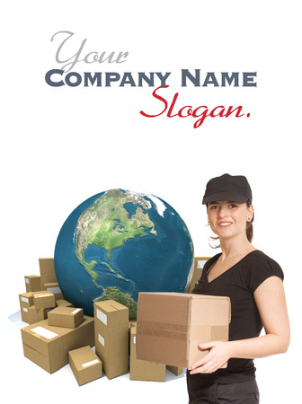 courier service: Female messenger holding a package with a world map and cardboard boxes as a background Stock Photo