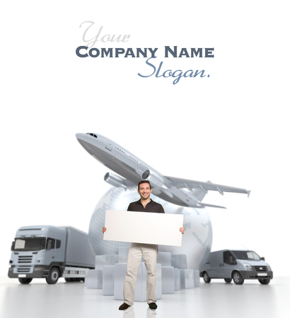 A man holding a blank message board with the world, piles of packages, truck, chronometer,  van and airplane  photo