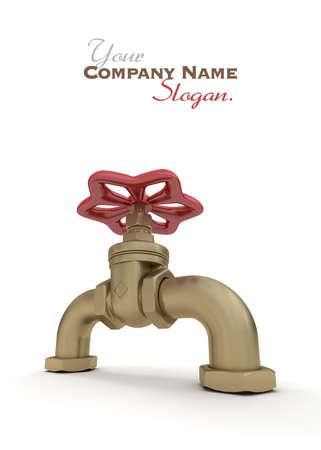 slogan: 3D de una válvula de agua Foto de archivo