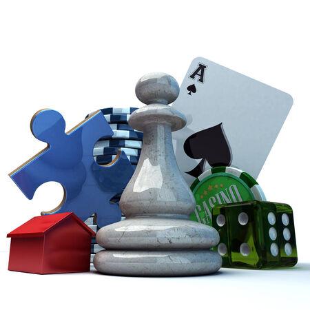 jeu de carte: Composition avec différents éléments de jeux