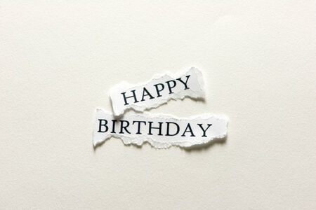 A scrap of paper with the words happy birthday Stock Photo - 28018078