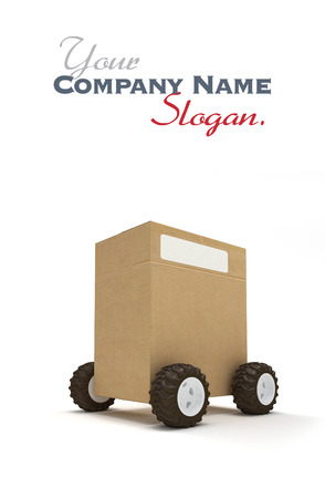 wheel house: Cardboard box package on wheels Stock Photo