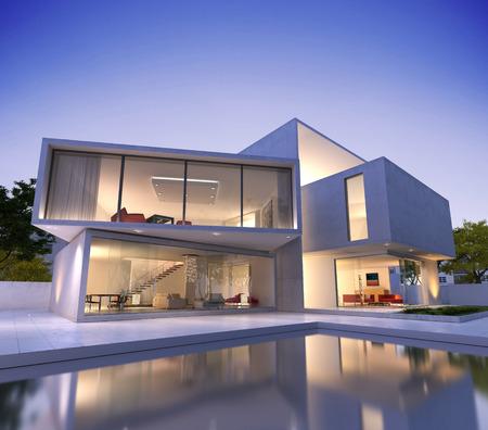 architectonic: Buitenaanzicht van een modern huis met zwembad in de schemering