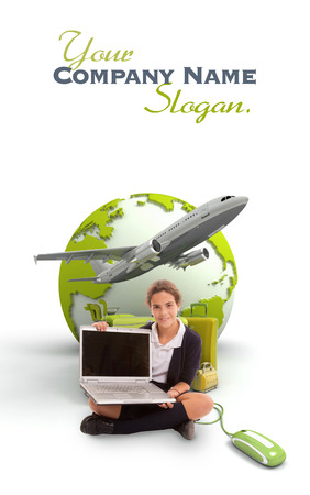 Young schoolgirl with a laptop, a pile of luggage and the Earth on the background photo