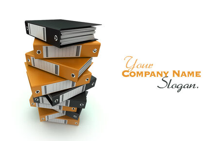 3D rendering of a pile of office ring binders photo