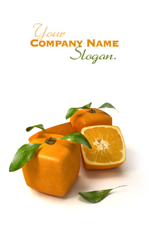 singular: Composition of cubic oranges on a white background Stock Photo