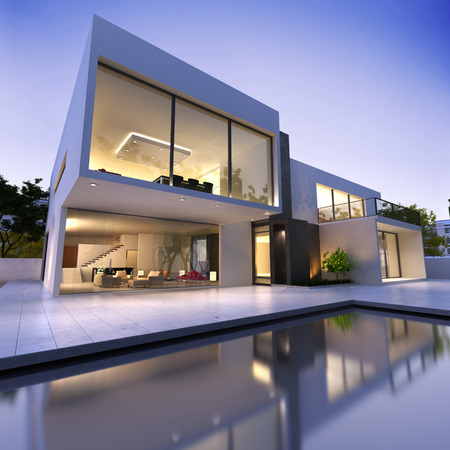 External view of a modern house with pool at dusk
