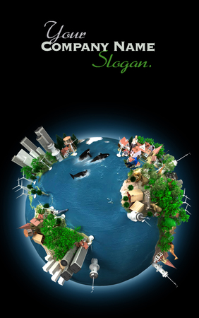 environmental issues:  3D rendering of an ecology oriented version of the planet Earth   Stock Photo