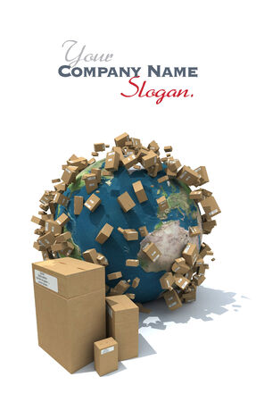 sea freight: The Earth covered with brown carboard packages Stock Photo