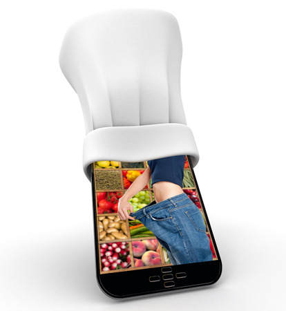 Tablet wearing a chefs toque with the picture of a sliming woman photo