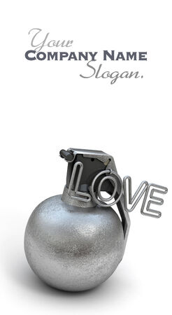 blank bomb: Hand grenade with the word love in pink instead of a ring Stock Photo
