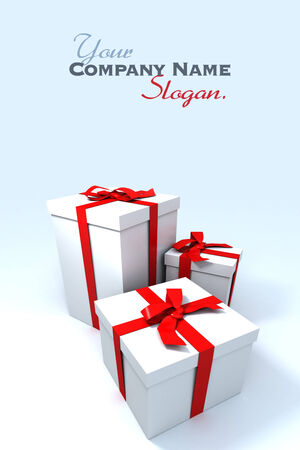 three Big white gift boxes with red ribbons on a neutral background photo