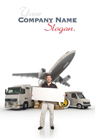 A man holding a blank message board with piles of packages, truck, chronometer,  van and airplane on the background photo