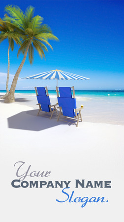 Tropical beach with sunshade and a pair of reclining chairs  photo