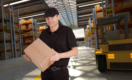 Smiling worker in a distribution warehouse photo