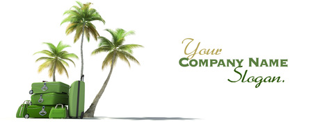 vanity bag: Island like composition showing tropical vegetation and beautiful green  luggage  Stock Photo
