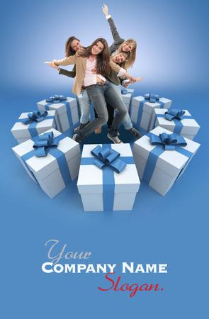 Eine Gruppe von Frauen glücklich feiern mit Geschenk-Boxen umgeben Standard-Bild