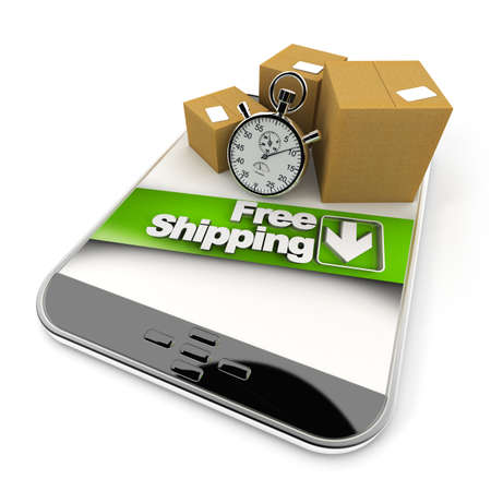 3D rendering of a purchase from a tablet with a free shipping photo
